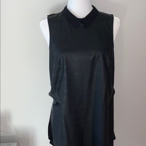 Bcbgeneration black leather collar top sz S